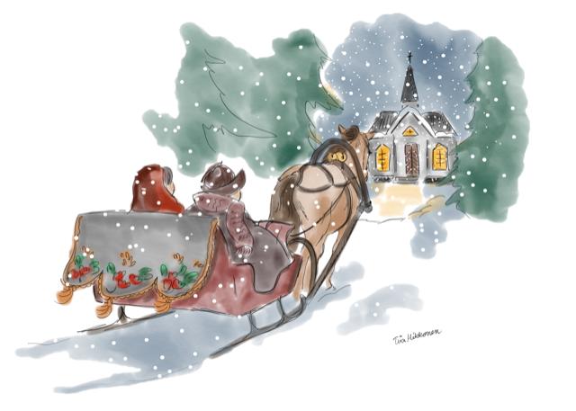 Sentinan joulukuun kalenterikuva, aiheena joulukirkkoon meno